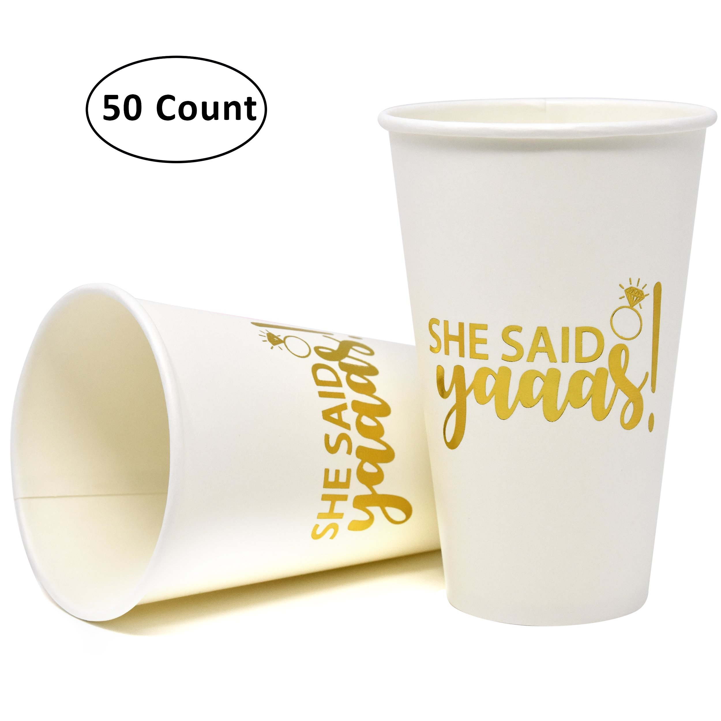 She Said Yaaas Bachelorette Party Cups 50 Count, 16 oz. Gold Foil on White Disposable Paper Cups for Bridal Shower Decorations Favor Supplies Engagement Wedding Bridesmaid Team and Bride to Be Gift