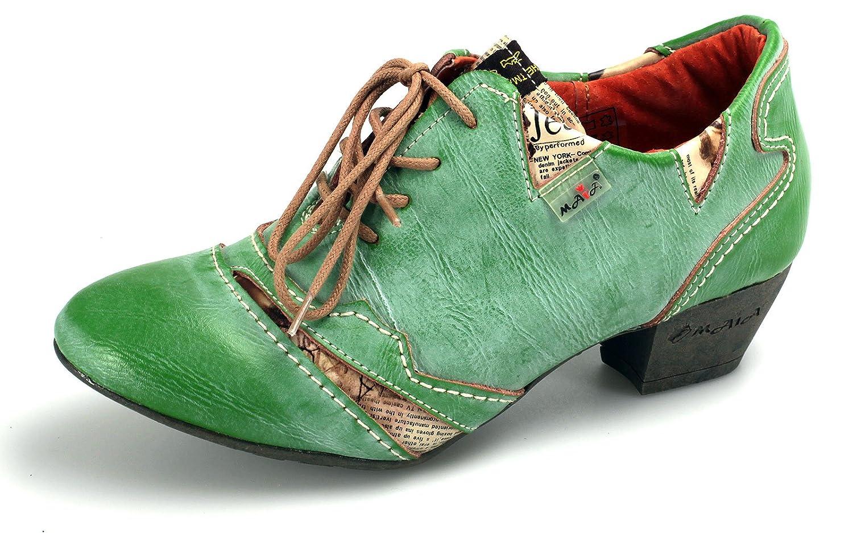 TMA 6101 Damen Leder Schuhe Halbschuhe Pumps (36, Schwarz/Grau)