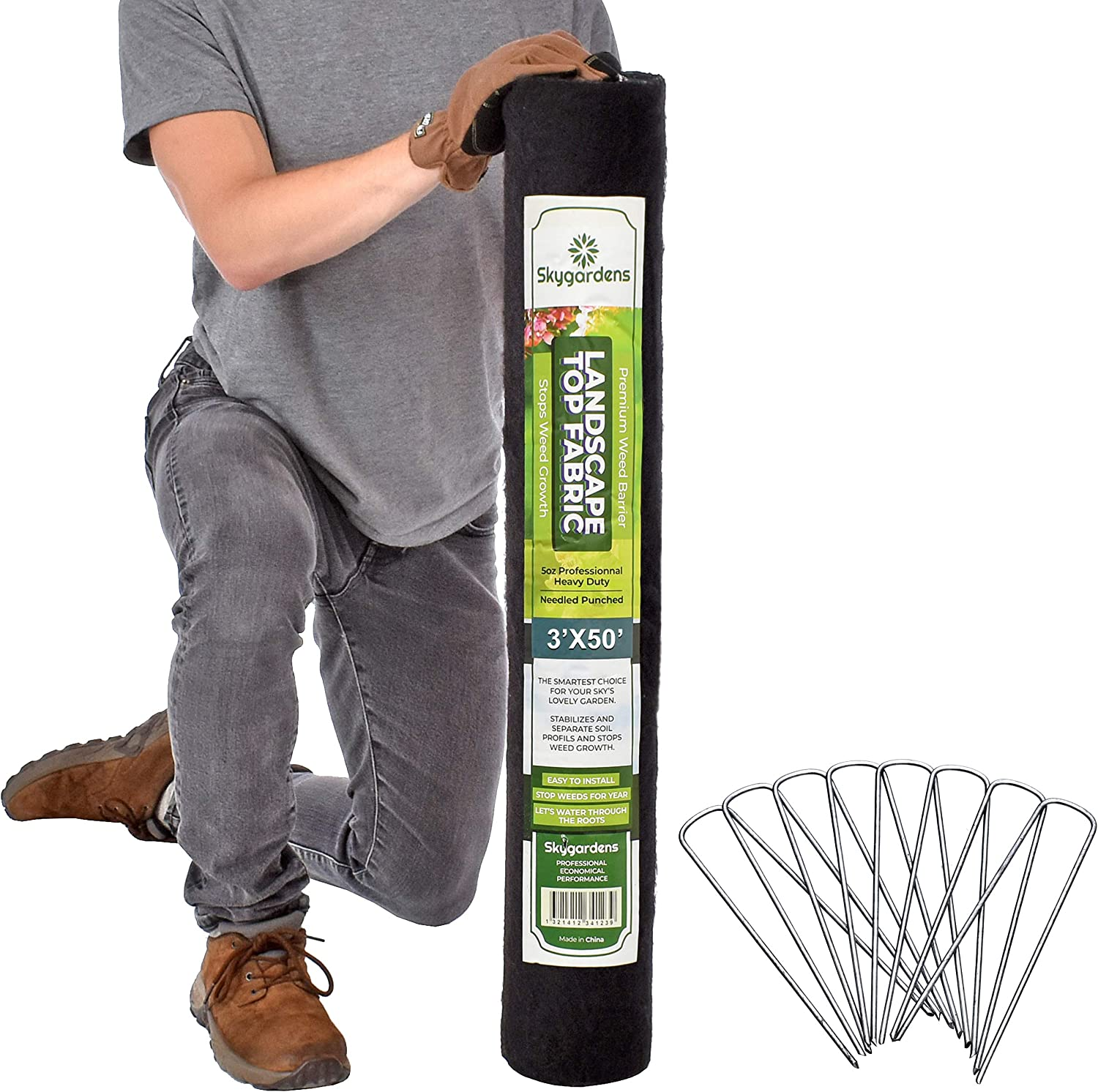 Skygardens Landscape Fabric and 25 Ground Stakes Kit 3ft x 50ft - 5 oz/170 GSM Heavy Duty Weed Barrier Fabric - Premium Weed Control Gardening Solution - Greenhouses - Home Garden