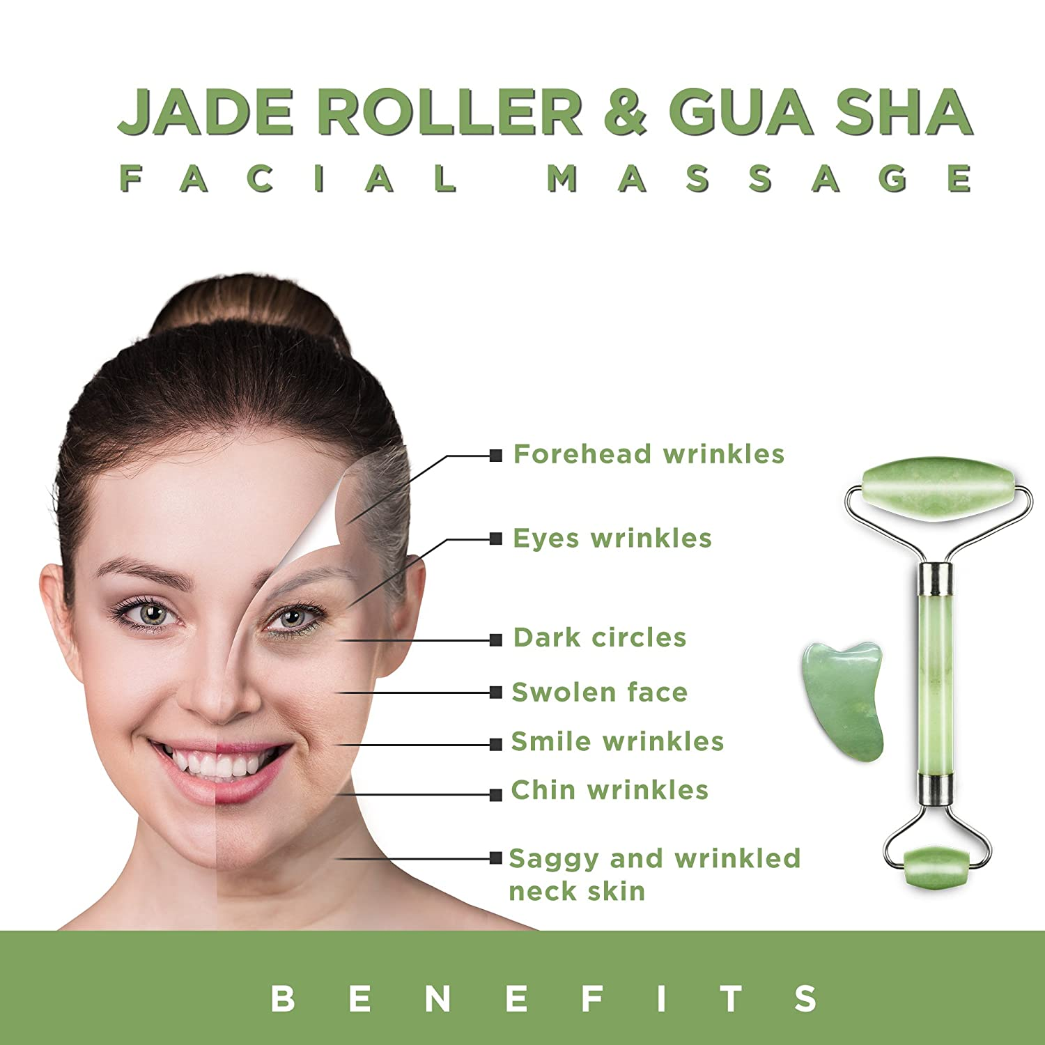 Jade Roller and Gua Sha Scraping Massage Tool - Himalayan Anti-aging 100%  Natural Facial Jade
