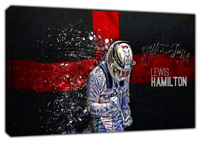 LEWIS HAMILTON FORMULA 1 PHOTO PRINT ON WOOD FRAMED CANVAS WALL ART