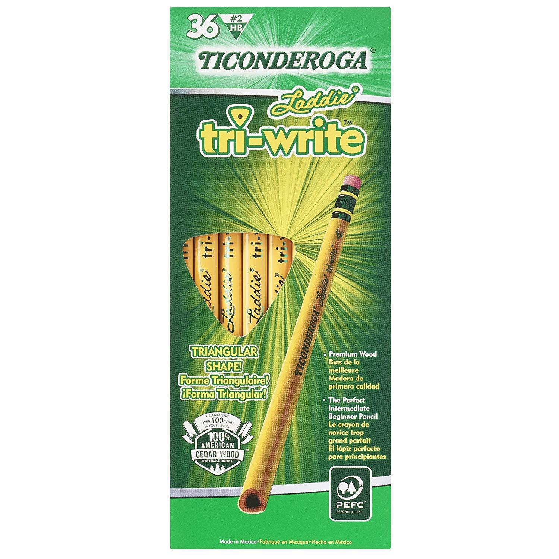 Dixon Ticonderoga 13042 Laddie Tri-Write Pencils with Eraser (Pack of 36) (Вundlе оf Тwо)