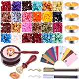 Sealing Wax, Anezus 645pcs Wax Letter Seal Kit with Wax Seal Beads, Sealing Wax Warmer, Vintage Envelopes, Wax Stamp and…