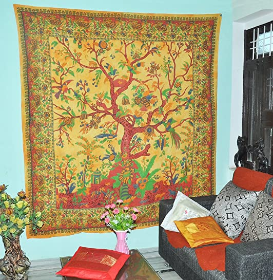 Orange Indian Tree of Life Bedspread Blossom Bird Tapestry Tree of Life Tapestry Hippie Tapestries Bohemian Boho Coverlet Dorm Tapestry Bed Sheet Wall Tapestries Wall Hanging