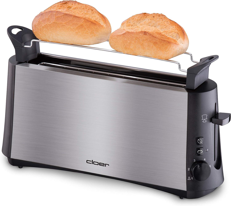 Nachhebevorrichtung 600 W Cloer 3890 Single-Toaster Minitoaster f/ür 1 Toastscheibe Kr/ümelschublade mattiertes w/ärmeisoliertes Edelstahlgeh/äuse Auftau-Funktion
