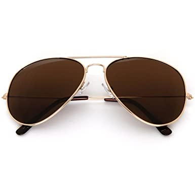 53df0901f7 SUNGLASSES LUXE - Large Aviator Sunglasses with Super Dark Lens (Gold)