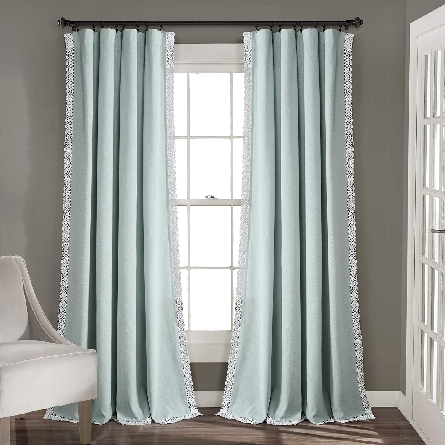 Amazon Com Lush Decor Blue Rosalie Window Curtains Farmhouse Rustic Style Panel Set For Living Dining Room Bedroom Pair 95 X 54 95 X 54 Home Kitchen