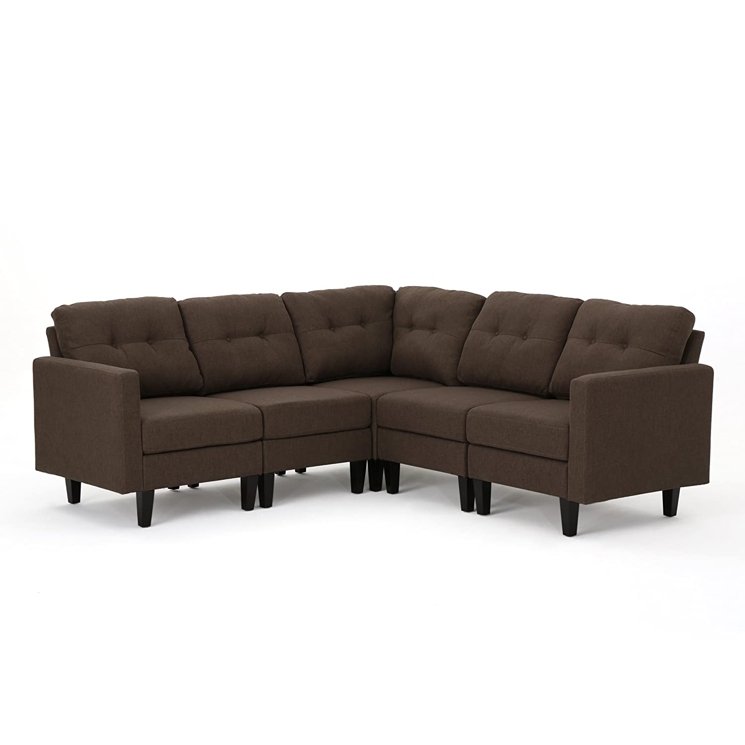 Christopher Knight Home 303602 Emmie Mid Century Modern 5 Piece Dark Brown  Fabric Sectional Sofa,