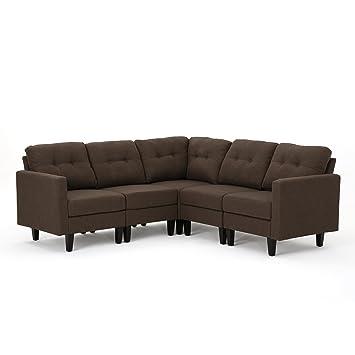 Superb Christopher Knight Home 303602 Emmie Mid Century Modern 5 Piece Dark Brown Fabric Sectional Sofa Cjindustries Chair Design For Home Cjindustriesco