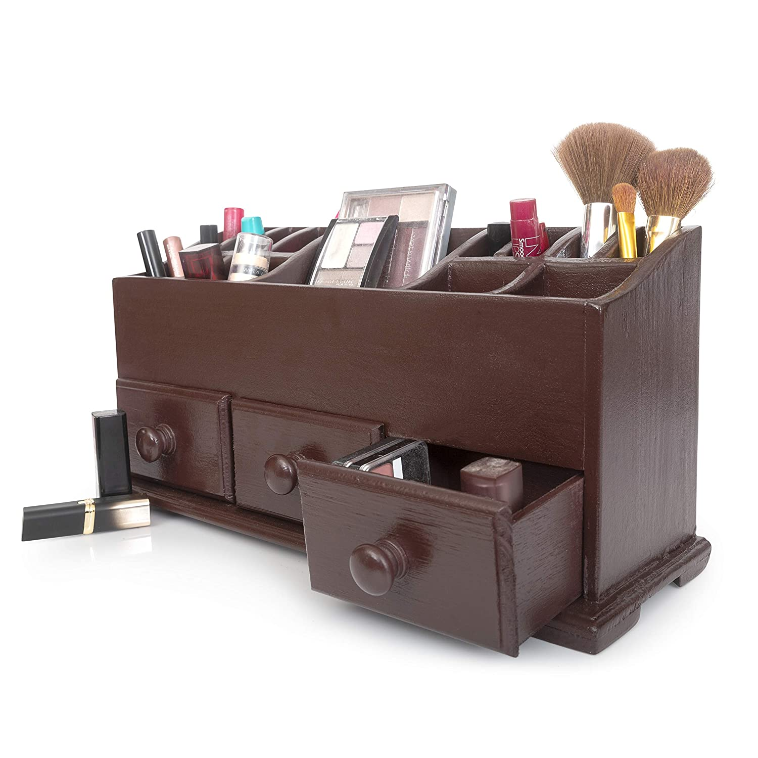 Vanity Drawer Beauty Organizer 3 Drawers - Wooden Cosmetic Storage Box for Neat & Organize Storing of Makeup Tools, Small Accessories at Home & Office Vanities & Bathroom Counter-top (Dark Brown)