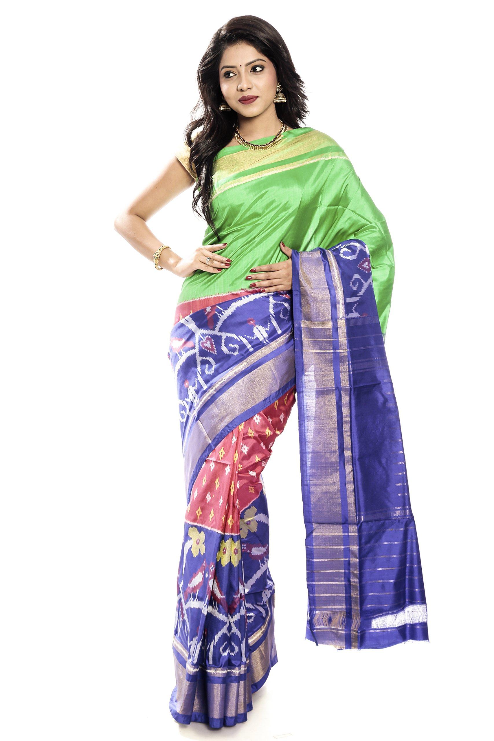 Mandakini — Indian Women's Pochampally - Handloom - Ikat Pure Silk Saree (Green-Blue ) (MK305)