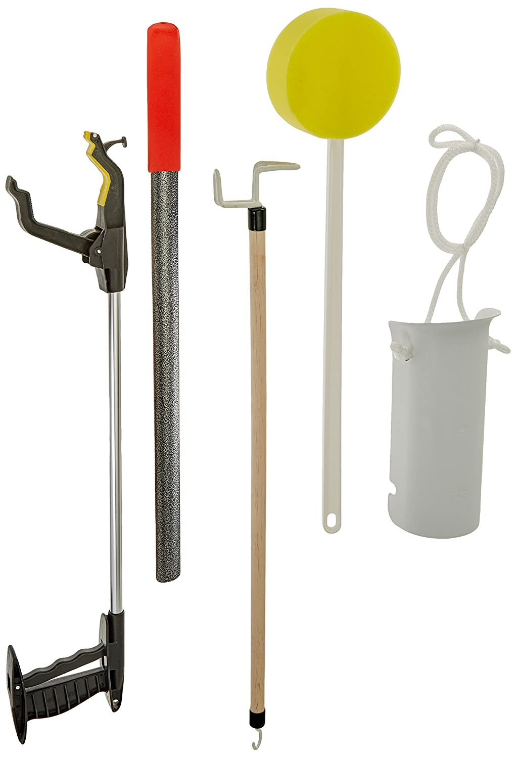 Sammons Preston Hip Kit III, Total Hip Replacement Recovery Kit to Avoid Bending and Moving Hips, ADL Tools for Elderly, Including Reacher Grabber, Sock Notch, Sponge, Dressing Stick, and Shoehorn: Industrial & Scientific