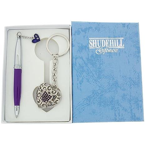 Amazon.com: Púrpura y plata pluma de vidrio con a juego ...