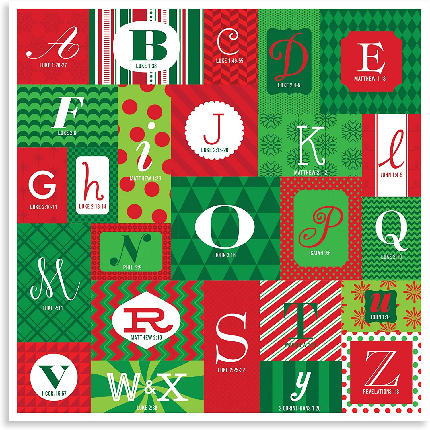 Amazon Com Lighthouse Christian Products Holiday Abc S Festive Season 12 X 12 Cardstock Paper Advent Calendar Home Kitchen