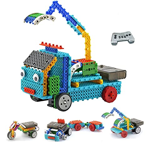 amazon com top race rc robot kit for kids 4 in 1 robot vehicle
