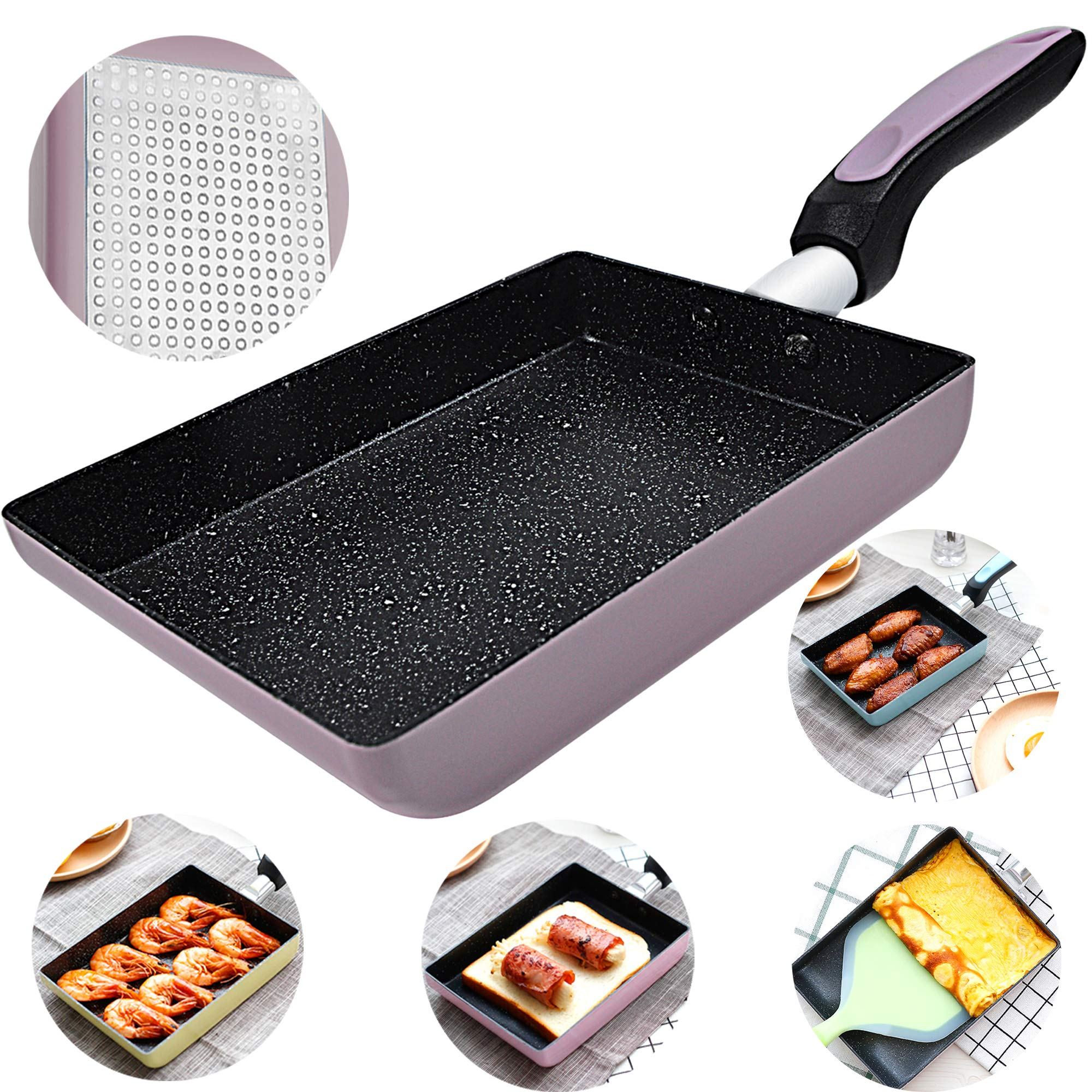 Tamagoyaki Japanese Omelette Pan/Egg Pan - Non-stick Coating - Rectangle Frying Pan Mini Frying Pan - Pink by IBBM I WILL BE YOUR BEST MEMORY