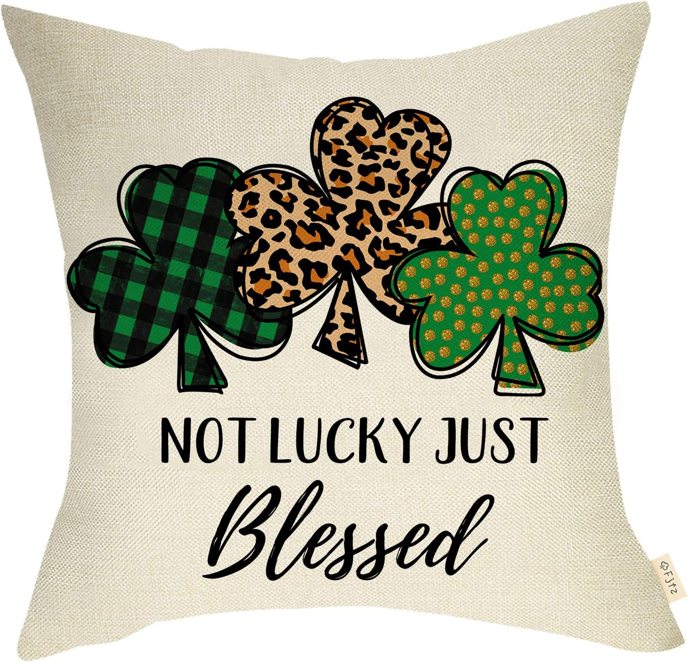 Fjfz St. Patrick's Day Farmhouse Decorative Throw Pillow Cover Not Lucky Just Blessed Sign Leopard Buffalo Plaid Shamrock Clover Decoration Home Décor Cotton Linen Cushion Case Sofa Couch 18