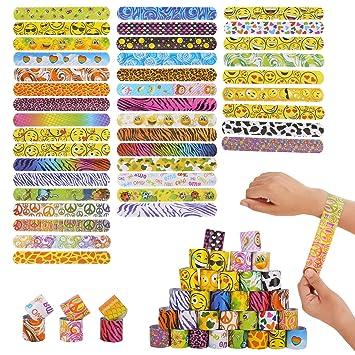 Herefun Pulseras de Juguete, 40 Piezas Slap Bracelet Banda de Bofetada Pulseras de Bofetada para Niños Adultos Regalos Cumpleaños