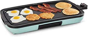 """Dash Everyday Nonstick Deluxe Electric Griddle with Removable Cooking Plate for Pancakes, Burgers, Quesadillas, Eggs and Other Snacks, Includes Drip Tray + Recipe Book, 20"""" x 10.5"""", 1500-Watt, Aqua"""
