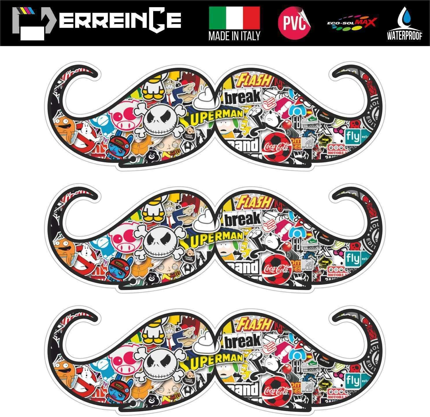 cm 30 erreinge Sticker Bomb x3 Baffi Hipster Barber Shop Adesivo Sagomato in PVC per Decalcomania Parete Murale Auto Moto Casco Camper Laptop
