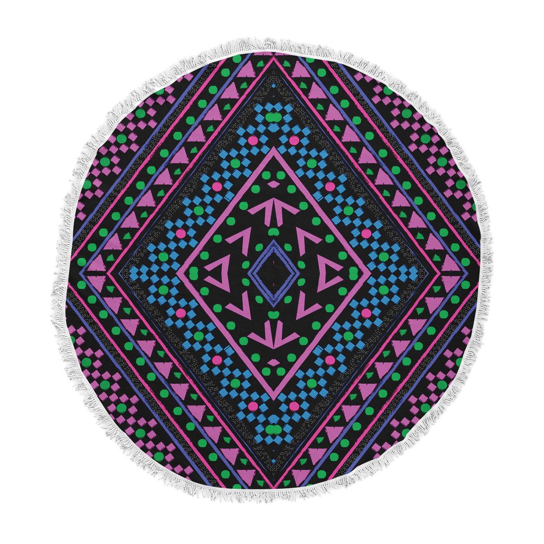 Kess Inhouse Nika Martinez Neon Pattern Round Beach Towel Blanket