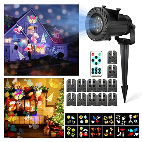 LED Proyector Luces de Navidad, CAMTOA Impermeable Multicolor Lámpara de Proyección con 12 Lentes Intercambiables, Luces del Paisaje con Wireless ...