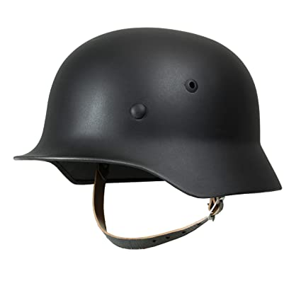 Epic Militaria WW2 German Army Black M35 Steel Helmet with Leather Liner &  Chin Strap