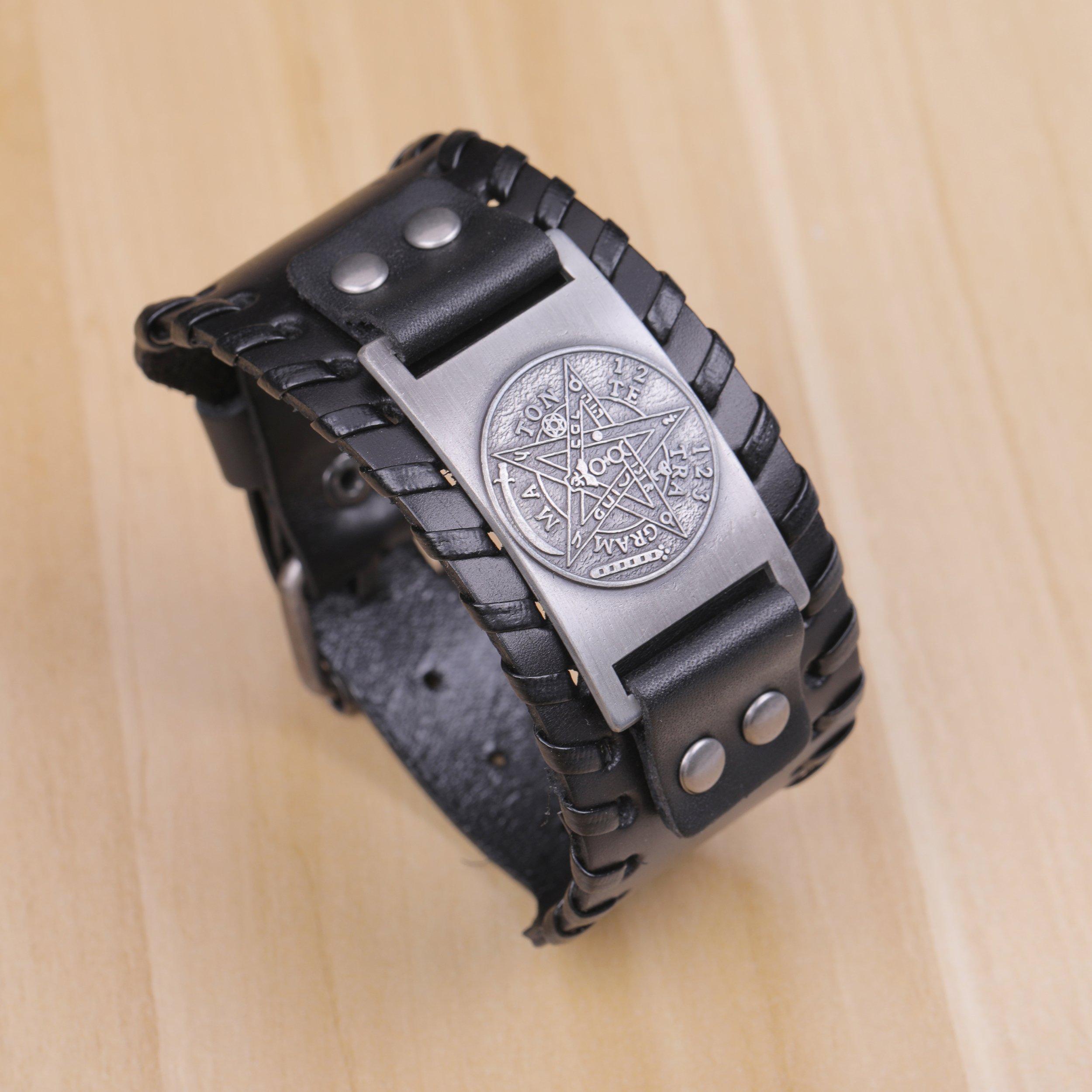 Pagan Viking Tetragrammaton Pentacle Symbol Talisman for Love Braided Wide Leather Wristband Bracelet (Antique Silver,Black) by Skyrim (Image #4)
