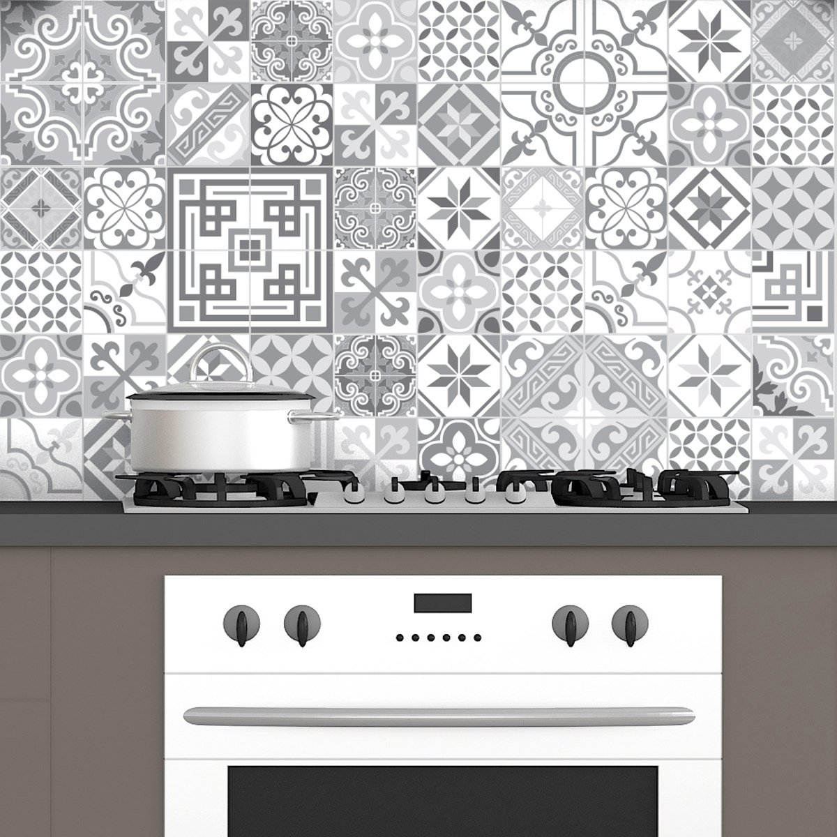 Ambiance 60 x Adhesive Cement Effect Wall Tiles, Azulejos Design, 15 x 15 cm 15x 15 cm