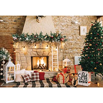Haboke 7x5ft Soft Durable Fabric Christmas Fireplace Theme Backdrop For Photography Christmas Tree Gift Decorations For Xmas Party Supplies Background