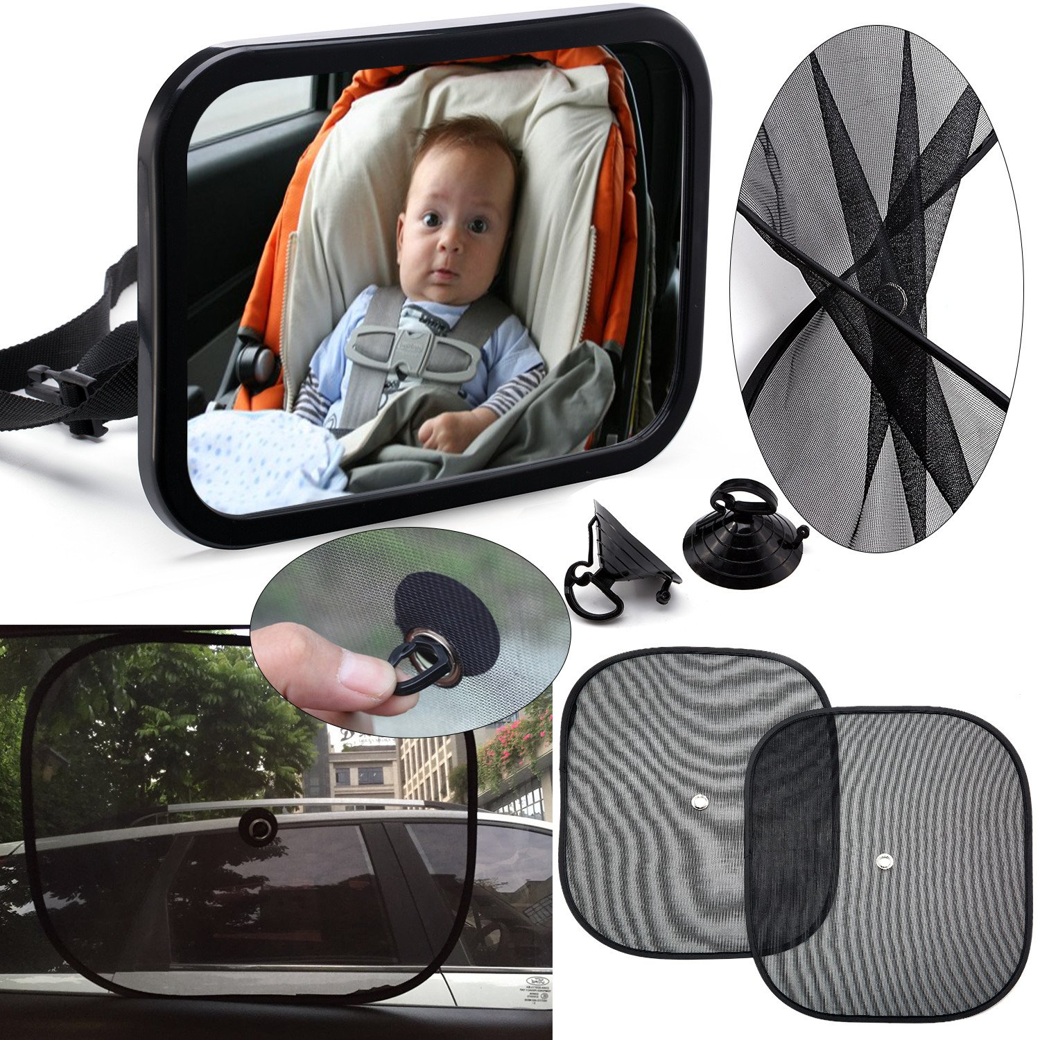 Baby Backseat Mirror for Car [COMBO w/ 2 Universal Window Shades] - View Infant in Rear Facing Car Seat - Newborn Safety With Secure Headrest Double-Strap