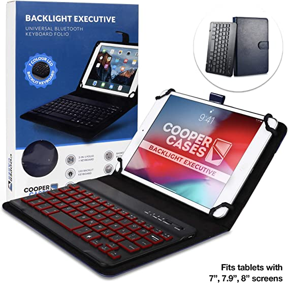 Cooper Backlight Executive Keyboard Case for 7-8 Inch Tablets | 2-in-1 Bluetooth Wireless Backlit Keyboard
