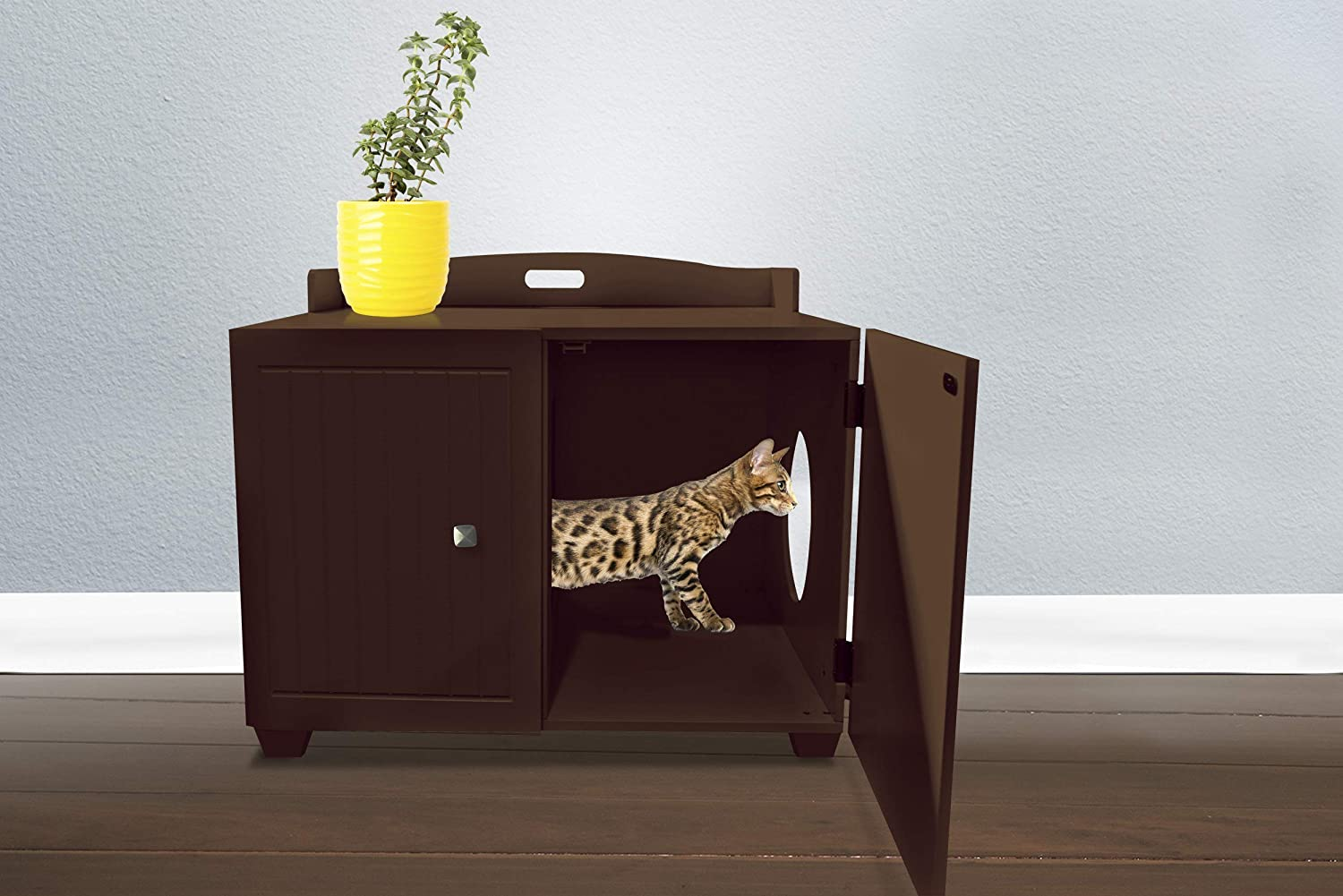 Furhaven Pet - Cat Litter Floor Mat Protector, Litter Box Storage Cabinet, & Secure Living Room Dog Crate End Table for Dogs & Cats - Multiple Styles & Colors