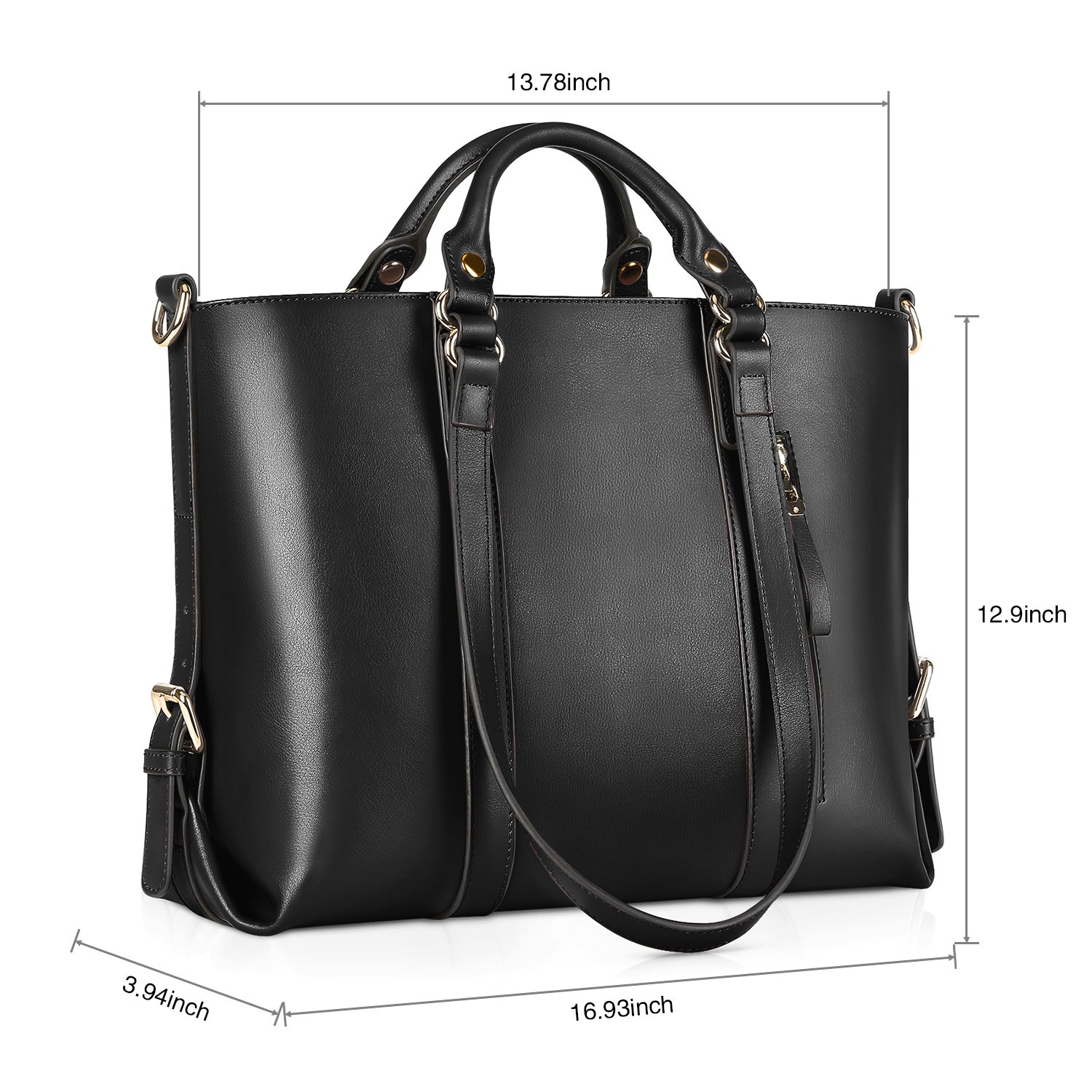 f88aaa86d39e Amazon.com  Kattee Urban Style 3-Way Women s Genuine Leather Shoulder Tote  Bag (Black)  Clothing