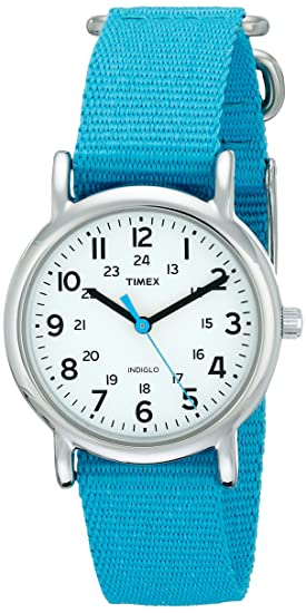 Timex T2N836 Womens Weekender White Dial Blue Slip Thru Nylon Strap Stainless Steel Watch