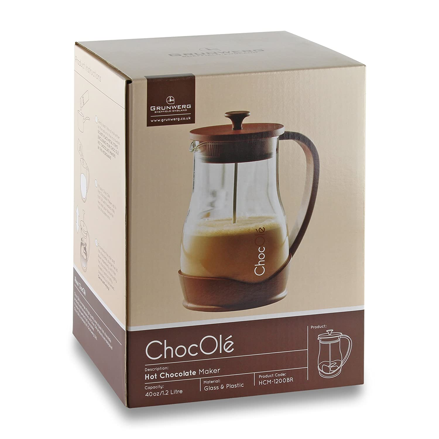 Choc Ole Hot Chocolate Maker Jug with Manual Blender, Clear, 1.2 ...