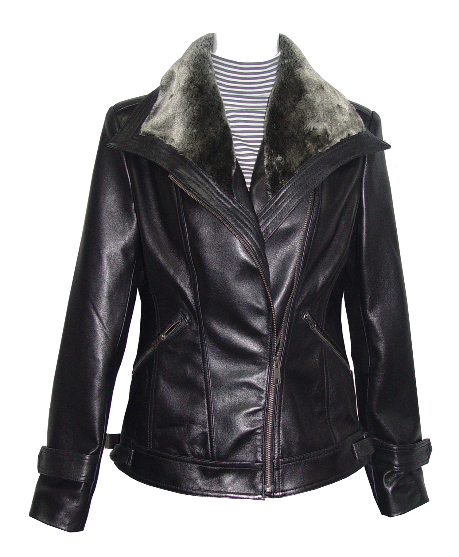 Nettailor 4061 Leather Motorcycle Jackets Womens Faux Fur Trim Fine Lamb