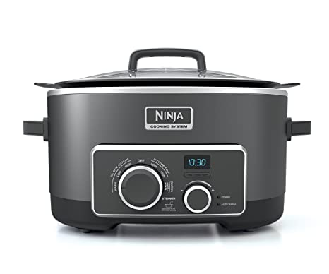 Ninja Multi-Cooker with 4-in-1 Stove Top, Oven, Steam and Slow Cooker Options, 6-Quart Nonstick Pot, and Steaming/Roasting Rack (MC950Z), Black (Thrее ...