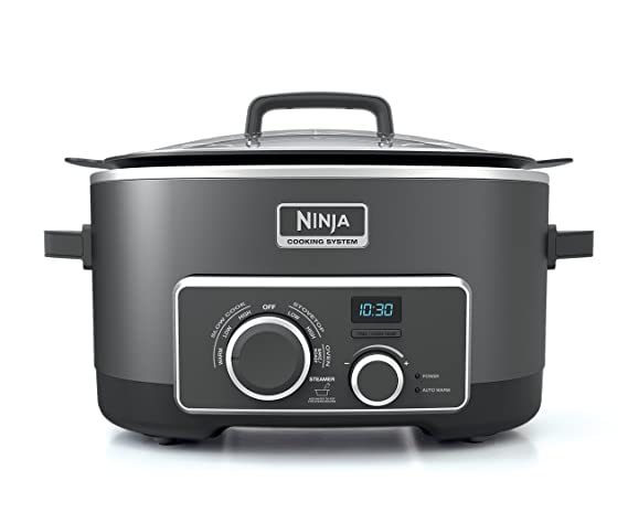 Ninja Multi-Cooker with 4-in-1 Stove Top, Oven, Steam and Slow Cooker Options, 6-Quart Nonstick Pot, and Steaming/Roasting Rack (MC950Z), Black