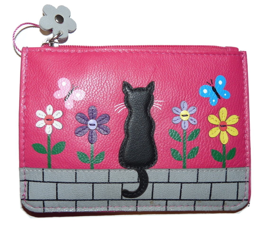 Zorro Cat Coin Purse by Mala Leather with gift dustbag 4167 6 soft leather (Grey)
