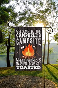 PotteLove Personalized Garden Flag, Garden Flag, Campsite Flag, Camper Flag, Fire Pit Flag, Campsite Welcome Sign, Welcome to Our Campsite, Outdoor Garden Yard Party Decor 28 x 40 Inch