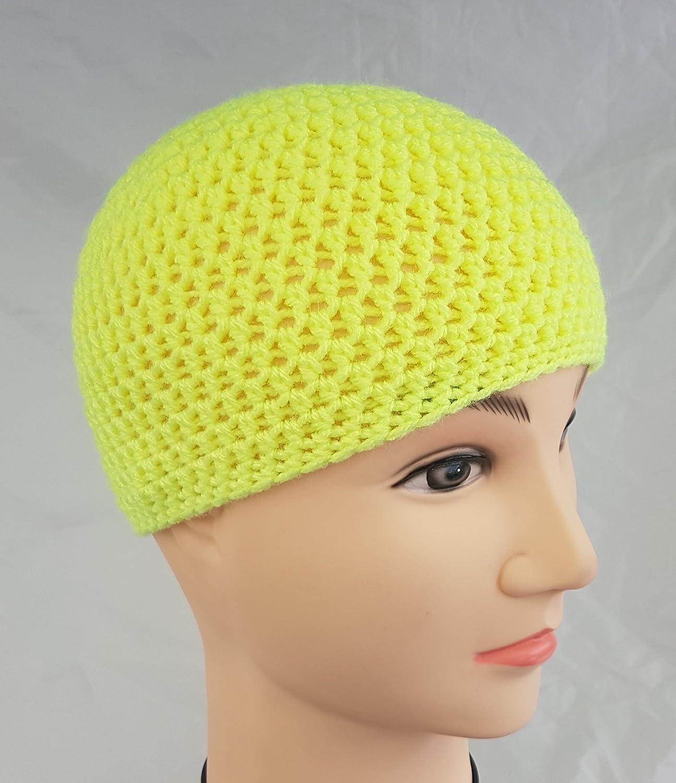 Amazon.com  Men s or Boys Neon Yellow Beanie Hat  Handmade dfae6d2b1c5