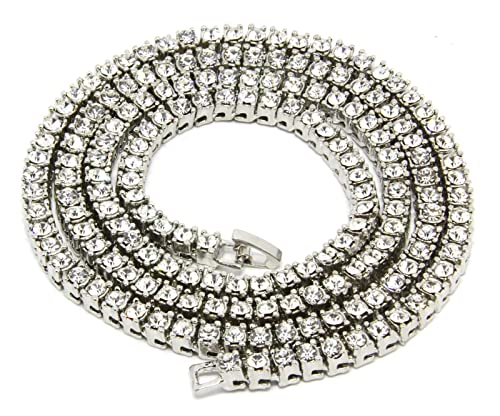 Mens Silver Tone Iced Out 30quot 1 Row Simulated Diamond Hip Hop Chain Necklace