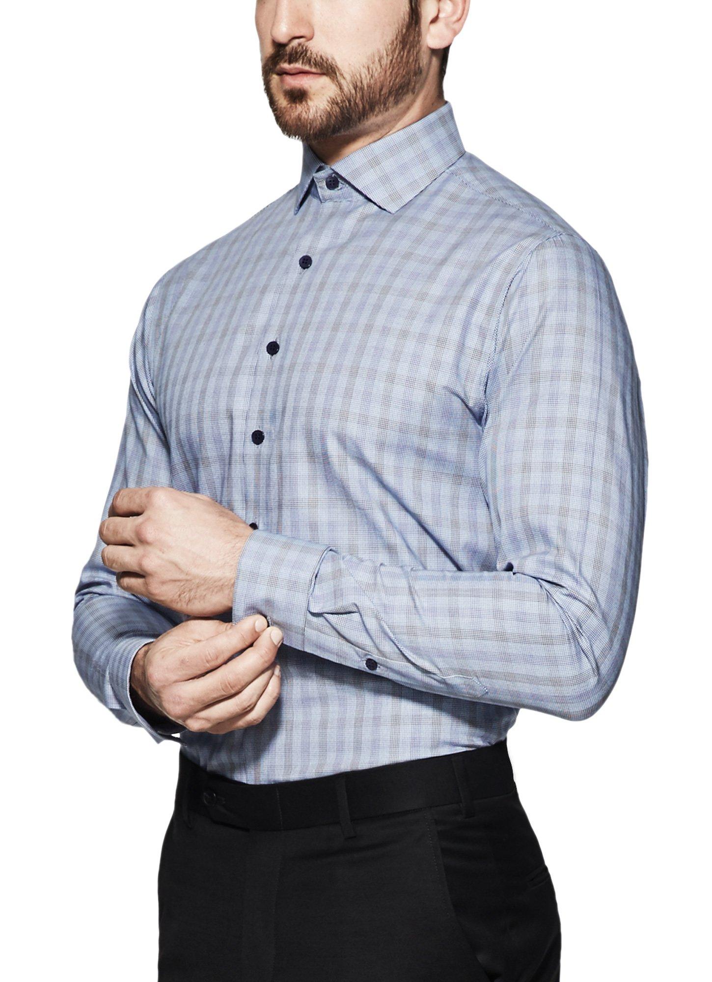 Vardama Men's Blue Checks Performance Shirt With Spill Proof Tech Mercer (X-Large)