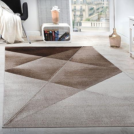 Paco Home Tappeto di Design Moderno Motivo Geometrico Corto Marrone Beige  Bianco mélange, Dimensione:160x220 cm
