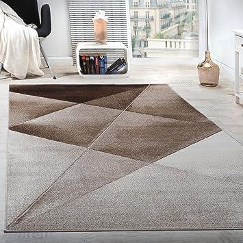 Paco Home Designer Teppich Modern Geometrische Muster Kurzflor Braun