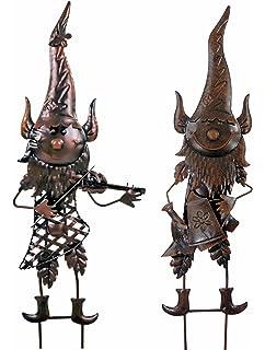 East2eden Special Offer Dark Metal Gnomes Hanging Wall Art Flower Bed Garden  Ornament