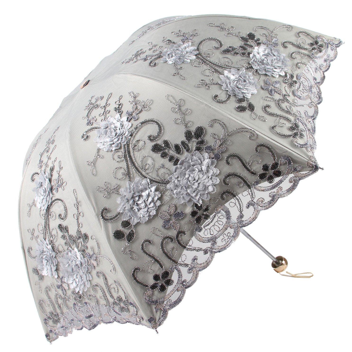 Honeystore Vintage Lace UV Sun Parasol Folding 3D Flower Embroidery Umbrella H1620 Grey by Honeystore
