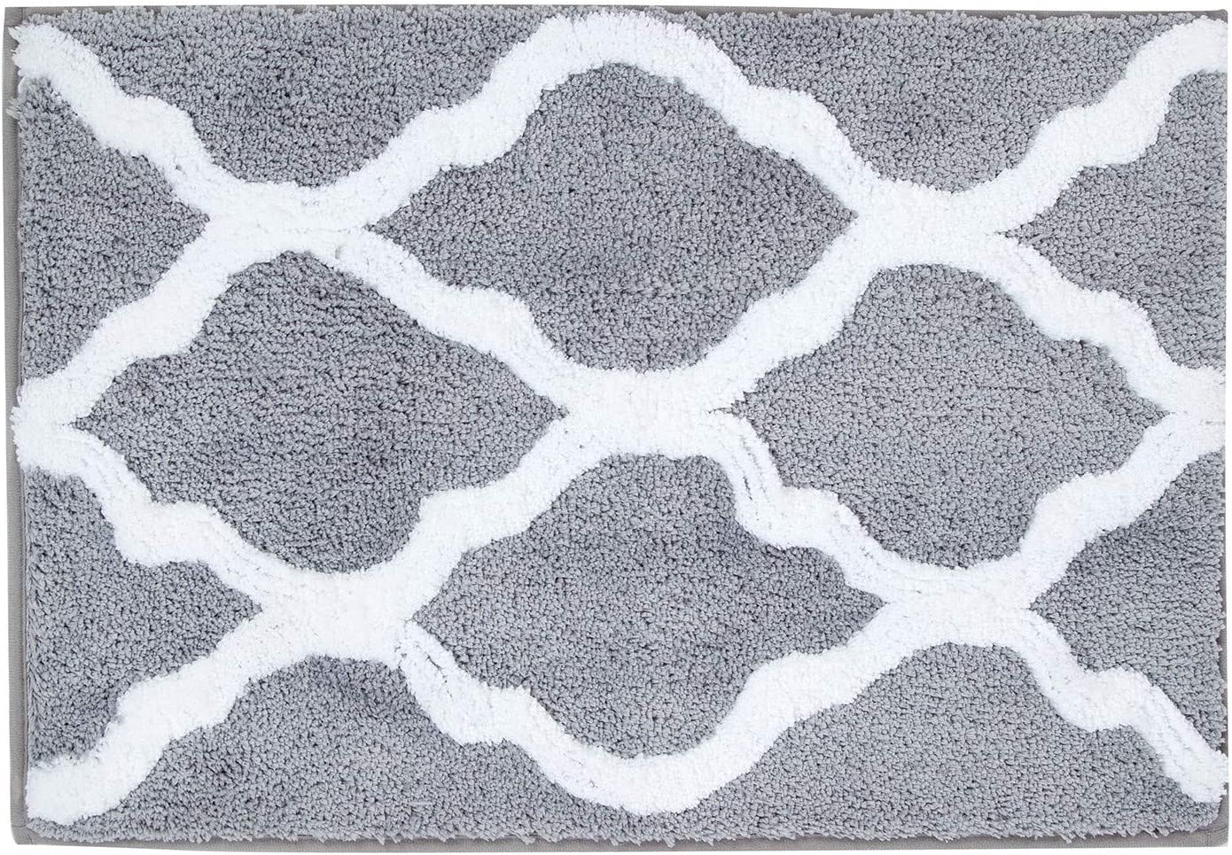 Amazon Com Pauwer Microfiber Bathroom Rugs Geometric Non Slip Bath Rugs Floor Mat Machine Washable 18 X26 Grey Home Kitchen