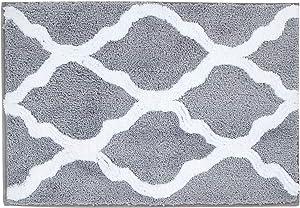 "Pauwer Microfiber Bathroom Rugs Geometric, Non Slip Bath Rugs Floor Mat Machine Washable (18""x26"", Grey)"
